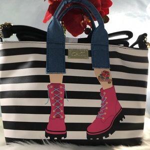 Betsey Johnson Rocker Jeans Striped Tote Purse👖👜